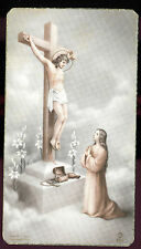 ANTIQUE  HOLY CARD PRAYER TO JESUS ON THE CROSS