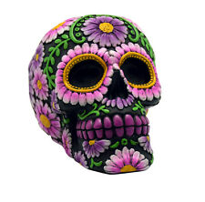Black and Pink Day of the Dead Sugar Skull Coin Bank Mexican Dia De Los Muertos