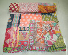 Vintage patchwork Kantha Quilt Handmade Cotton Bedspread  Throw Bedding Cover
