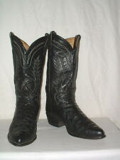 Men's Tony Lama Black Ostrich Quill Cowboy Boots 9EE Style 05393