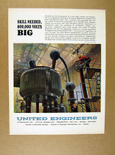 1964 High Voltage Test Facility Robert Lavin art United Engineers print Ad