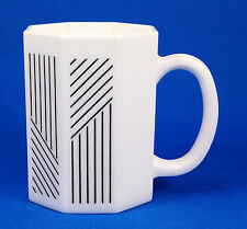 Arcopal OCTAGON Mug 3.875 in. Table Charm Black Lines White France Multisided