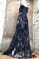 Sensational! Art Deco/20s MONSOON *Rhune* floral SILK devore maxi XMAS dress 16