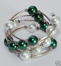 7.5 Inches Green & White 12mm Shell Beads fashion Bangle, Wrap Bracelet, Charm