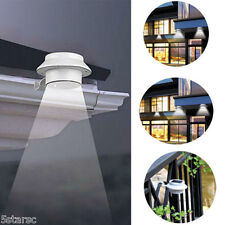 Solar Power Powered Outdoor Garden Light Gutter Fence LED Wall W/ Bracket White