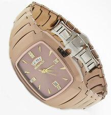 Luxus Tungsten Wolfram Herren Armband Uhr Datum CZ Diamant Jakobsburg Tag GOLD R