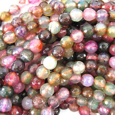 "6mm faceted agate round beads 14"" strand multicolor"