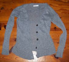 Women's Juniors ABERCROMBIE & FITCH Gray Cotton Cardigan Sweater Shirt Size XS