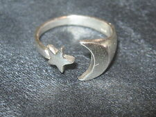925 STERLING PAGAN MAGICAL CRESCENT SILVER MOON AND STAR RING SIZES 5 TO 9