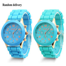 Colorful Unisex Geneva Silicone Jelly Gel Quartz Analog Sports Wrist Watch New