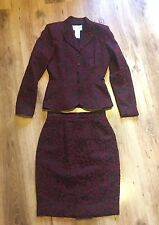Genuina Chaqueta Vintage Bordado Thierry Mugler Damas & SKIRT SUIT: UK 8-10