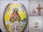 """1st Communion Jesus 6x4"""" Plaque Rosary Box, Etched Wood Cross Primera Comunión"""