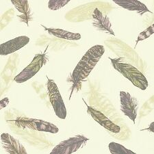 5 Rolls Quirky Feather Cream, Pink and Green Wallpaper