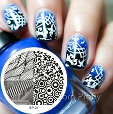 Nagel Schablone BORN PRETTY Nail Art Stamp Stamping Template Plates BP-21