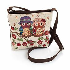 Shoulder bag-small -POUCH-zip PURSE-tapestry OWLS beige brown 30 x 36 cm  £5.99
