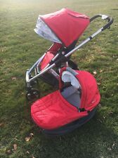 UPPAbaby VISTA Baby Stroller and Bassinet Set - Red Silver - Denny