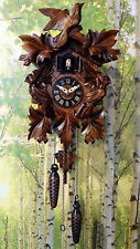 cuckoo clock black forest quartz german wood batterie clock handmade new 13,7""