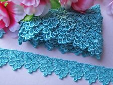 Sky blue color embroidered  lace trim/ribbon - price for 1 yard