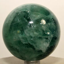 "2.2"" Natural Rainbow Green Fluorite Sphere Gemstone Crystal Ball - China + Stand"