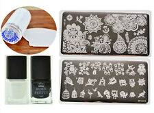 2Pcs BORN PRETTY Nail Art Stamping Plates & Stamping Polish & Stamper&Scraper