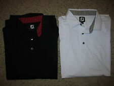 2-Lot Footjoy Mens Golf Polo Shirts XL Casual Dress Lounge White & Black FJ Club