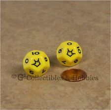 Set of 2 Yellow D12 Jester Dice (0 to 10) 12 Sided RPG Die Koplow 18mm