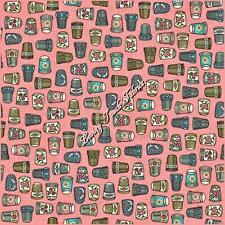 """THIMBLE PLEASURES"" QUILTING TREASURES SEWING THEME FABRIC PRICED @ 1/2 YD PINK"
