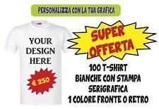 OFFERTA !! 100 T-SHIRT BIANCHE PERSONALIZZATE CON STAMPA MONOCOLORE - MAGLIETTE