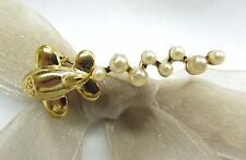 18K Gold Plate Small Airplane with Pearl Brooch Pin