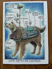 Jigsaw puzzle in a tin called GUIDE DOG FOR THE INEBRIATED by SIMON DREW