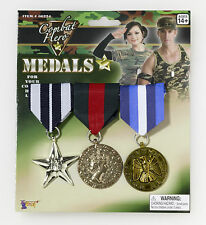 3 Military Medal Set Army Navy Air Force Marine Uniform Costume Accessory
