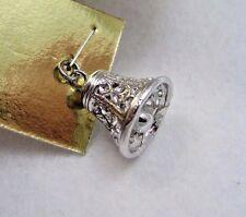 Vintage Sterling Silver 3D Christmas Wedding Bell Bracelet Charm