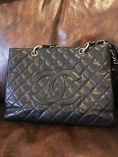 "CHANEL Authentic Caviar GST 13"" Grand Shopping Tote Chain Shoulder Bag Black EUC"