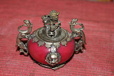 Stunning Chinese Asian Incense Holder Burner-Foo Dog Dragons Lions-Silver Metal