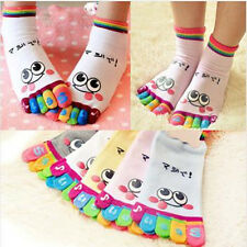 Lady Woman Girl Smile Five Fingers Trainer Toe Ankle Sport Socks Colors New