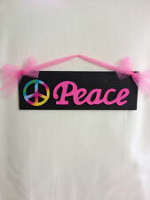 Girls Peace Sign Wood Wall Decor Teen Peace Sign Room Black Hot Pink Peace Sign