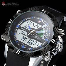 Men SHARK Digital LCD Army Date Day Quartz Sport Rubber Military Watch +Bookmark