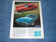 """1969 Shelby GT350 GT500 Vintage Ad """"Fire & Refinement"""" Mustang SportsRoof"""