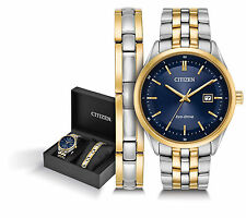Citizen Men's Eco-Drive Two Tone Stainless Steel GIFT SET Watch BM7258-62L