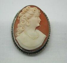 Antique Silver Mounted Beautiful Carved Cameo Brooch / Pendant
