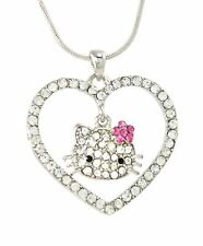 Cute Hello Kitty Heart Necklace Silver Tone Clear Crystals 18 Inches