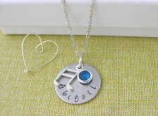 Personalised Name Pendant Birthstone Music Charm Necklace Silver Plated Chain