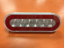 "2 LED 6"" Oval Truck Trailer Brake Stop Turn Tail Lights With Clear LENS RED LED"