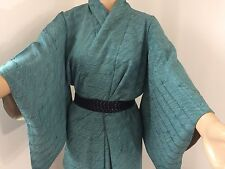 Vintage authentic dark turquoise silk Japanese kimono, Japan import (J1143)
