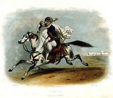 """Antique French Engraving Hand Colored, """"Bagdad. Enlèvement de Fatmé"""", 1840's"""