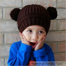 BonEful RTS NEW Boutique Crochet Knit Brown Chocolate S WINTER Baby HAT Boy Girl