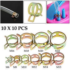 New 100Pcs 6-22mm Spring Clip Fuel Line Hose Water Pipe Air Tube Clamps Fastener