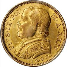 ITALY PAPAL STATES 1869 20 LIRE GOLD COIN ALMOST UNCIRCULATED CERTIFIED PCG AU55