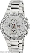 Casio EF546D-7A Edifice Men's White Dial Stainless Steel Chronograph Watch 100M