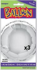 Silver Party Shower Favors Balloon Decoration Mylar Round Supplies x3 Foil 18in